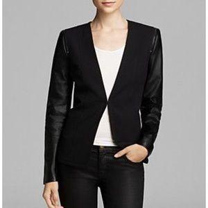 Bloomingdales Aqua Faux Leather blazer sz small